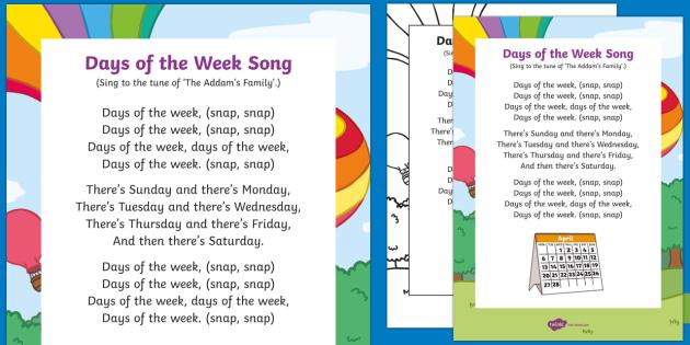 Bài hát các thứ ngày trong tuần bằng tiếng Anh