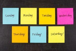 Các thứ trong tuần bằng tiếng Anh viết như thế nào?