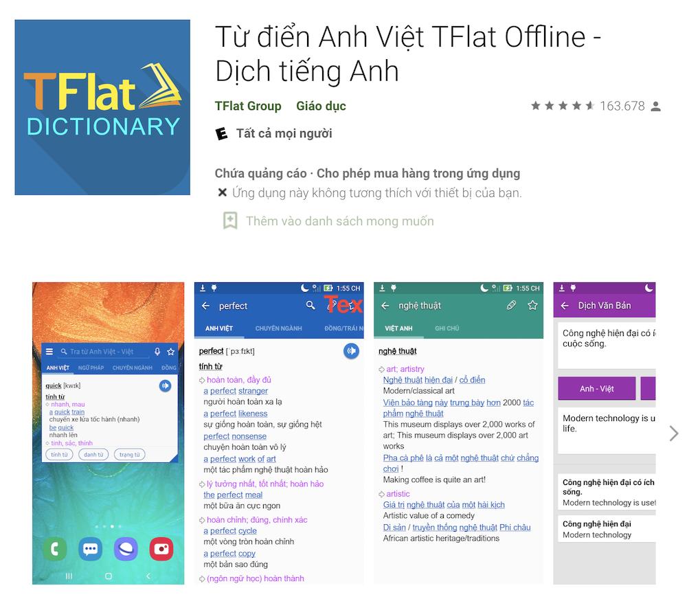 Phần mềm học tiếng Anh giao tiếp TFlat